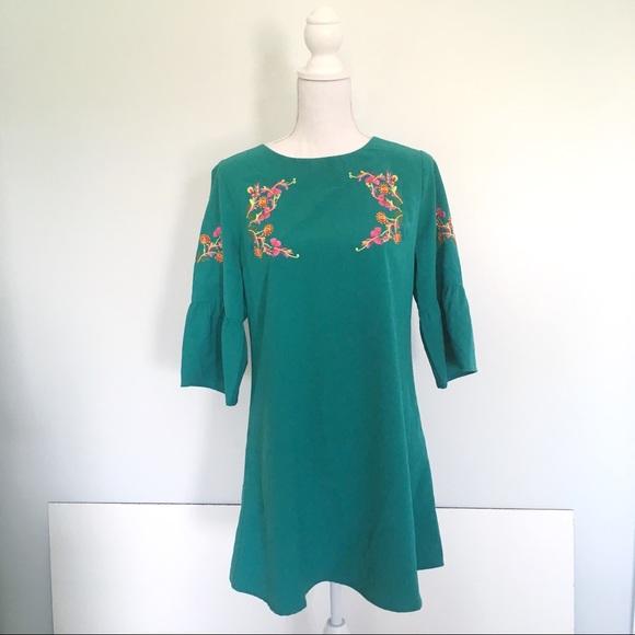 Altar'd State Dresses & Skirts - Altar'd State Teal Bell Sleeve Embroidered Dress